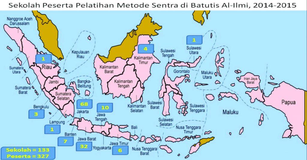 Peta persebaran peserta Pelatihan Metode Sentra yang diselenggarakan oleh Sekolah Batutis Al-Ilmi pada periode 2014-2015